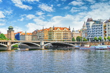 Vltava View With Dancing House At Right. Prague, Czech Republic.