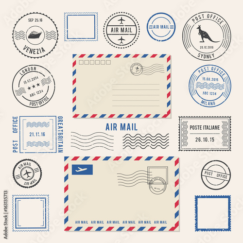 Photo Vector illustrations of letters and postmarks, airmail designs