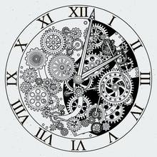Watch Parts. Clock Mechanism With Cogwheels. Vector Illustrations