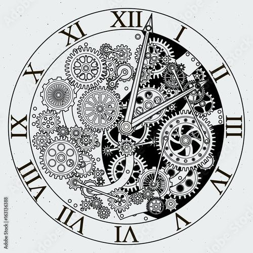 Fototapeta Watch parts. Clock mechanism with cogwheels. Vector illustrations obraz