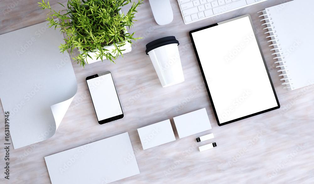 Fototapeta stationary branding on marble desktop