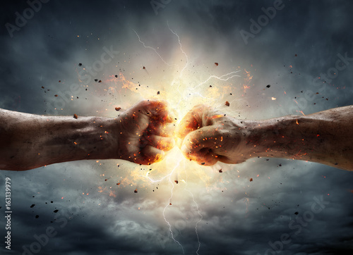 Canvas Print Conflict Concept - Two Fist In Impact