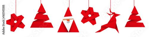 Obraz boże narodzenie origami wektor - fototapety do salonu