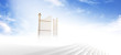 canvas print picture - Gates of heaven above stairs in fog with blue sky background