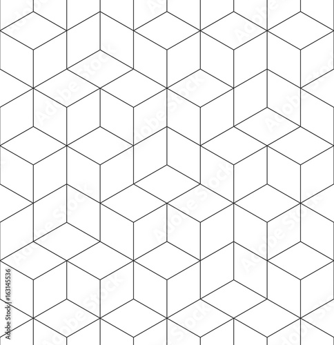 Geometric abstract seamless pattern cube lines background texture Wall mural
