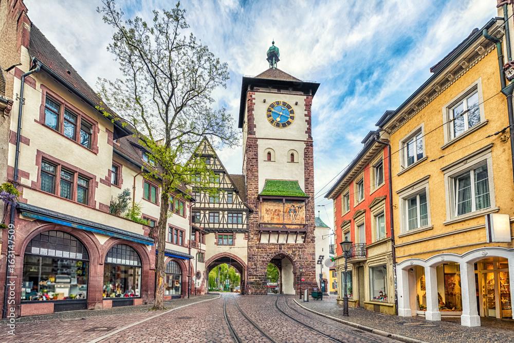 Fototapety, obrazy: Schwabentor - historical city gate in Freiburg im Breisgau, Baden-Wurttemberg, Germany