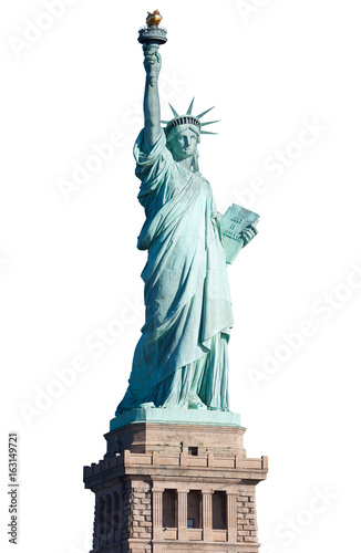 Statue of Liberty with pedestal isolated on white, clipping path Fototapet