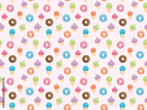 Photo  Seamless pattern with sweets in kawaii style