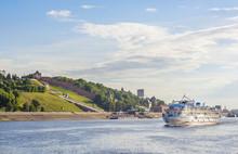 Passenger River Boat Goes Along The Coast Of The City Of Nizhny Novgorod