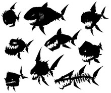 Black Graphic Silhouette Cool Monster Fish On White Background