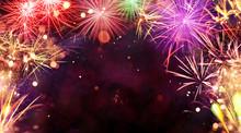 Fireworks Explosions On Black ...