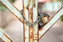 Old Metal Gate Locked With Pad...