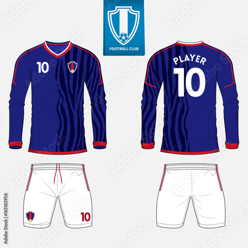 Set of long sleeve soccer jersey or football kit template for football club.  Football shirt mock up. Front and back view soccer uniform. dccaf1977