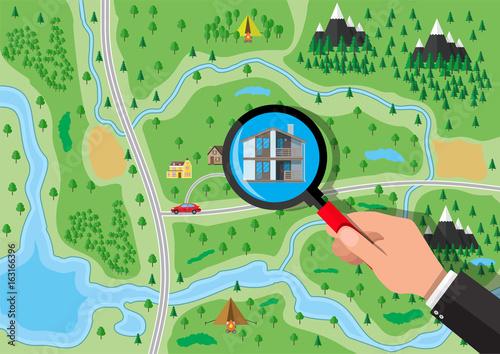 Poster de jardin Route Private suburban house. Real estate