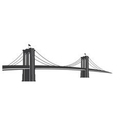 Brooklyn_grey. New York Symbol - Brooklyn Bridge - Vector Illustration