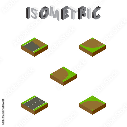 Fotografía  Isometric Road Set Of Sand, Driveway, Turn Vector Objects