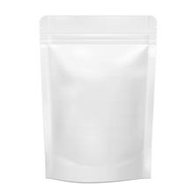 White Blank Sealed Foil Food Pouch Bag Packaging Vector EPS10