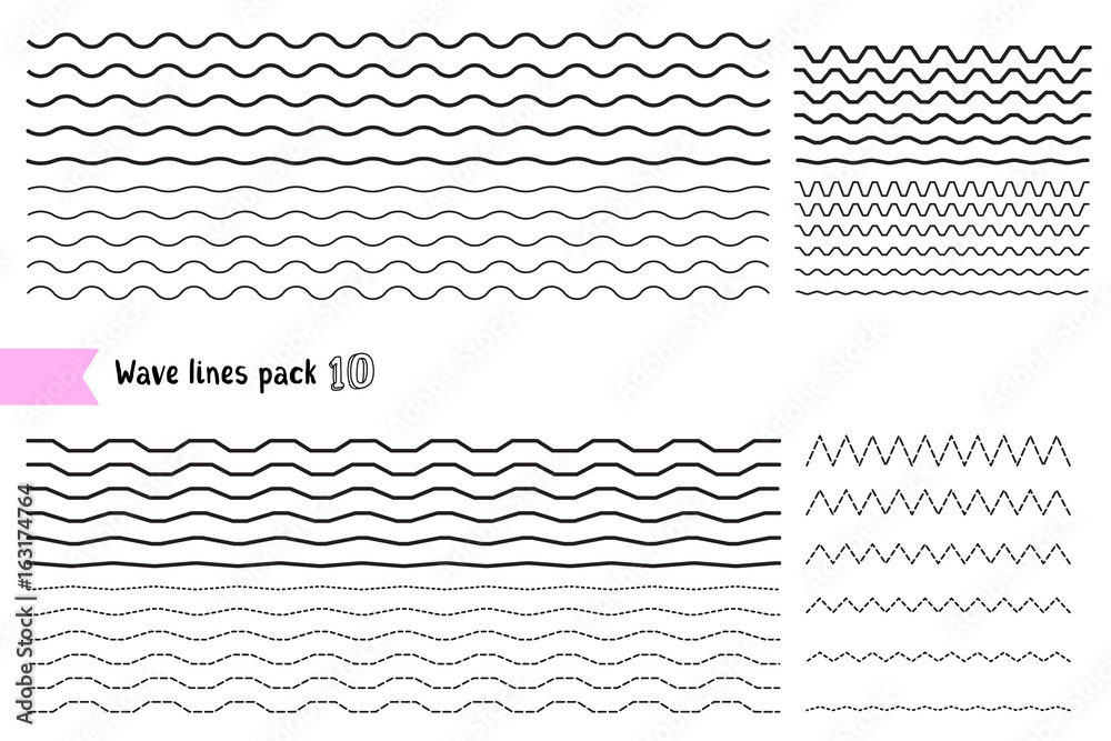 Fototapeta Vector collection of graphic design elements variation dotted line and solid line. Different thin line wide and narrow wavy line on white background.
