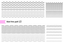 Vector Collection Of Graphic Design Elements Variation Dotted Line And Solid Line. Different Thin Line Wide And Narrow Wavy Line On White Background.