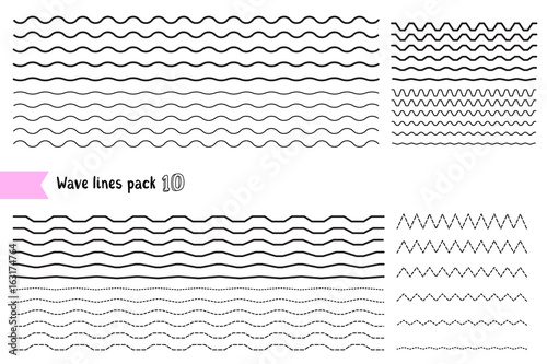 Fotografie, Obraz  Vector collection of graphic design elements variation dotted line and solid line