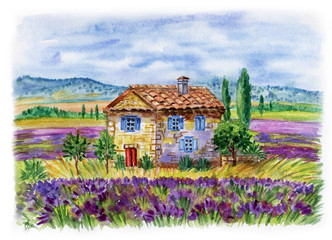 Fototapeta Lawenda Landscape with a house and lavender fields against the backdrop of the mountains. Watercolor illustration in the style of Provence.