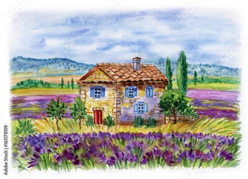 Krajobraz z domem i lawendowymi polami przeciw tłu góry. Ilustracja akwarela w stylu Prowansji.