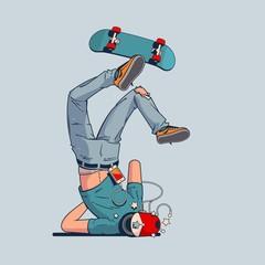 Naklejka person having a crash with skateboard