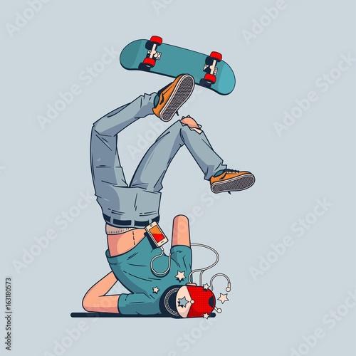 Fotografie, Obraz  person having a crash with skateboard