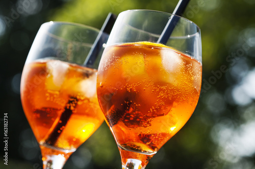Apperol spritz cocktail in misted glass, selective focus