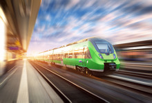 High Speed Train In Motion At ...