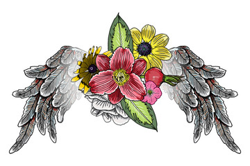 Panel Szklany Ptaki Rose and flowers with angel or bird wings. Vintage floral. Highly detailed blackwork tattoo flash concept isolated on white. Wings and blooming lily, roses drawing in feminine style. Vector.