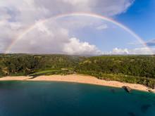 Aerial View Of Waimea Bay With...