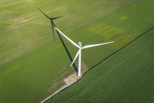 Wind Turbine In A Green Field,...