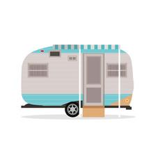 Camper Van Flat Illustration