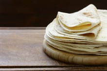 Flat Bread Tortillas Pile On The Table