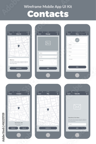 Wireframe UI kit for mobile phone. Mobile App Contacts. Form, about ...