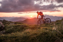 Male Mountainbiker At Sunset I...