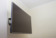 Black LED Tv Television Screen Mockup Mock Up, Blank On White Wall Background