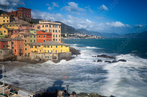 Poster Ligurie GENOA (GENOVA), ITALY, JUNE, 29, 2017 - Long exposure of Genoa Boccadasse, a fishing village and colorful houses in Genoa, Italy