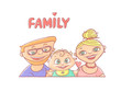 Vector illustration on a white background happy young family, the husband and wife, with smiling infant. Mom and dad with the baby. Greeting card on the day of family, love and fidelity.
