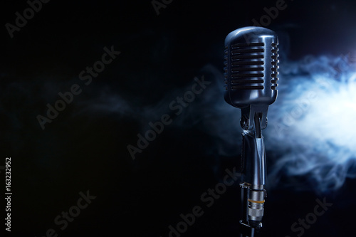 Vocal microphone on stage. Canvas Print