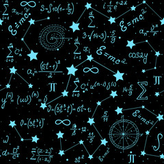 Tapeta Mathematical astrophysical vector seamless pattern with formulas, figures and calculations handwritten on the background of stars. Scientific space endless texture