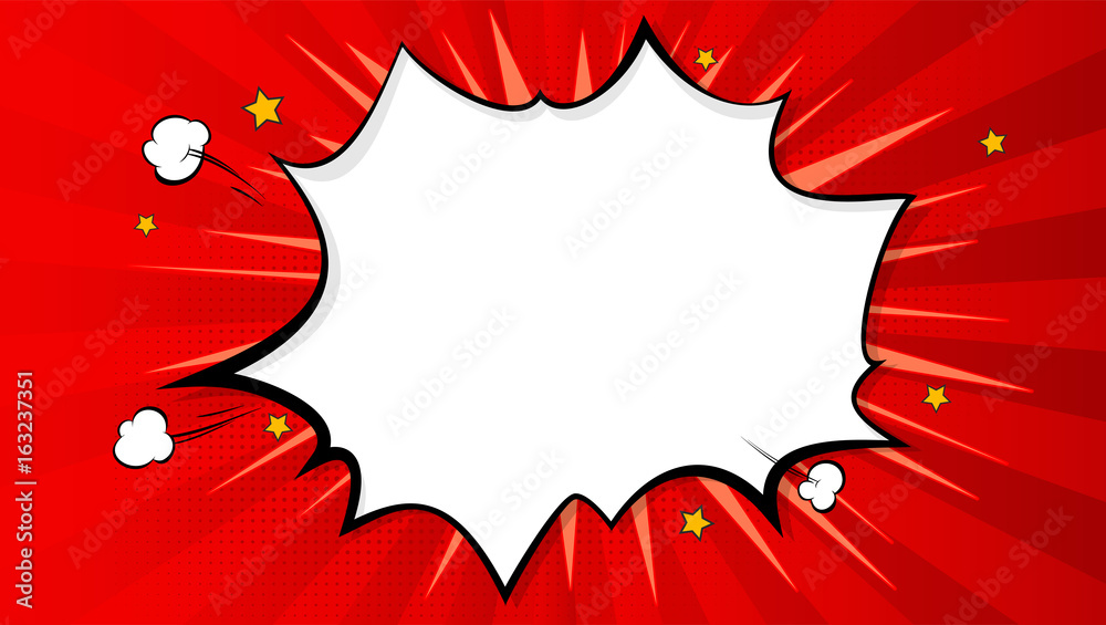 Fototapety, obrazy: Pop art splash background, explosion in comics book style, blank layout template with halftone dots, clouds beams and isolated dots pattern on red backdrop. Vector template for ad, covers, posters.