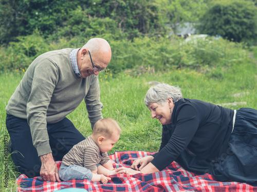 Plakat Dziadkowie bawić się z wnukiem w naturze