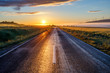 canvas print picture - Road at early Sunrise