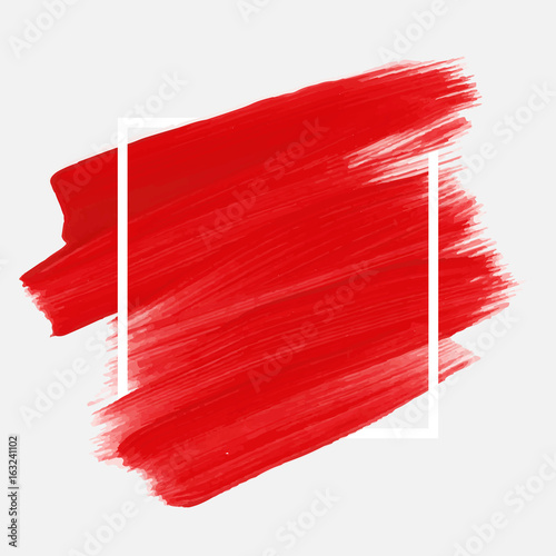 Photo Logo brush painted acrylic abstract background design illustration vector over square frame