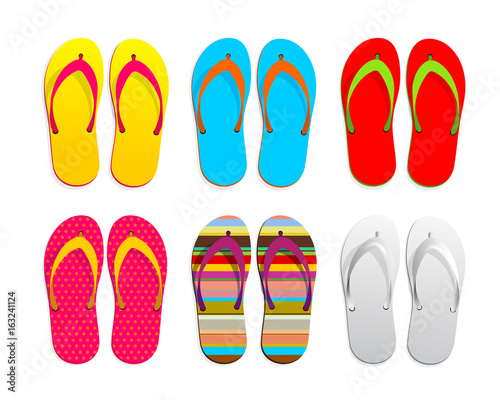 Set of flip flops icon design. Vector illustration graphic. Isolated on white background