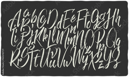 Fotomural Hand drawn calligraphic font made with dry brush textured effect