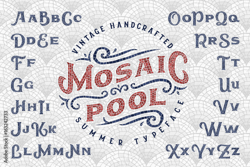 Fotografie, Obraz Vintage handcrafted summer typeface Mosaic Pool with seamless pattern tiles ba