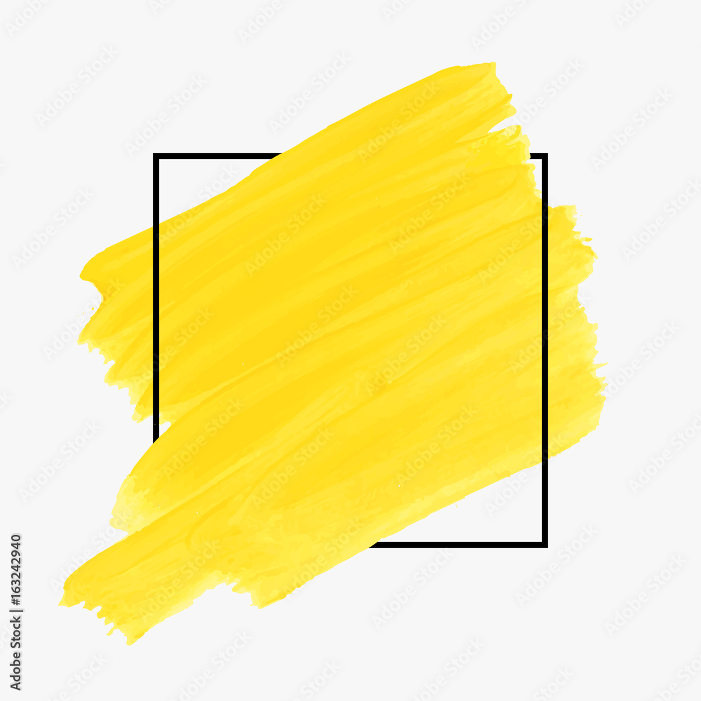 Fototapety, obrazy: Art abstract background brush paint texture design acrylic stroke poster over square frame illustration vector. Rough paper hand painted vector. Perfect design for headline, logo and sale banner.